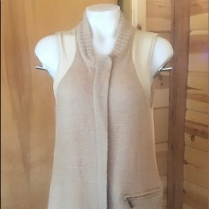 SHAE Vest Sweater Coat Tan Wool Mohair